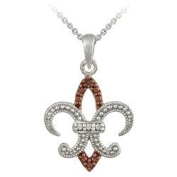 DB Designs Rose Gold over Sterling Silver Champagne Diamond Fleur de Lis Necklace