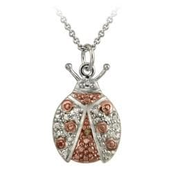 DB Designs Rose Gold over Sterling Silver Champagne Diamond Lady Bug Necklace