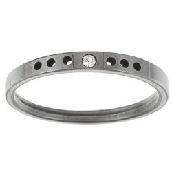 Women's Tungsten Crystal Notched Band (1.9 mm)