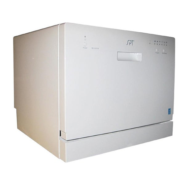 SPT White Portable Countertop Dishwasher