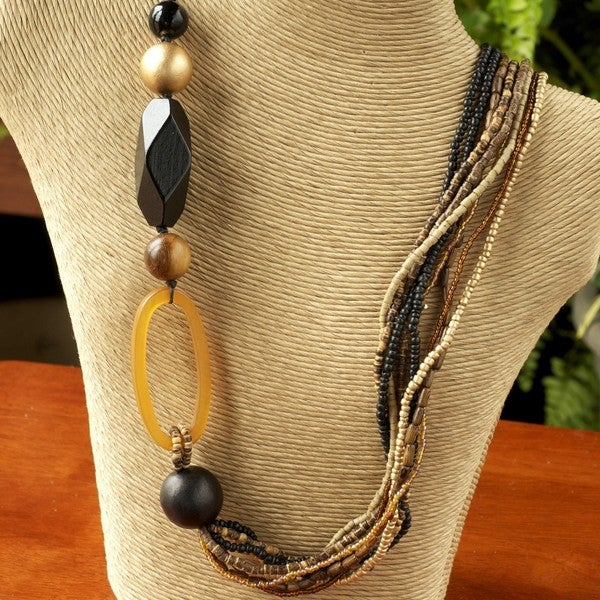 Handmade Golden Horn Medallion and Wood Bead Multi-strand Necklace (Philippines) 7851433