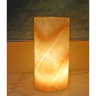 Alabaster Carved Pillar Lamp , Handmade in Egypt