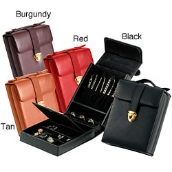 Royce Leather Top-grain Nappa Leather Jewelry Case features 4 Hooks