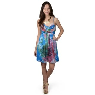 Journee Collection Women's Tropical Floral Print V-neck Dress
