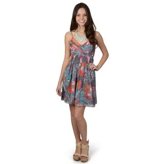 Journee Collection Women's Floral Print V-neck Dress