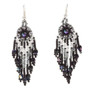 Sterling Silver Beaded Chandelier Earrings (Guatemala)