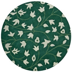 Hand-tufted Anabell Green Wool Rug (8' Round)