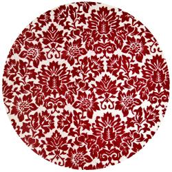 Hand-tufted Fenway Red Wool Rug (8' Round)