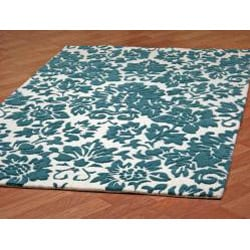 Hand-tufted Fenway Aqua Wool Rug (5' x 8')