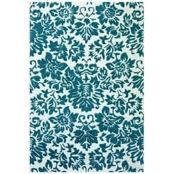 Hand-tufted Fenway Aqua Wool Rug (5' x 8')
