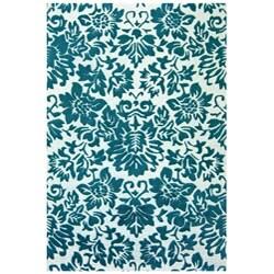Hand-tufted Fenway Aqua Wool Rug (8' x 11')