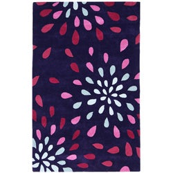 Hand-tufted Purple Rain Wool Rug (5' x 8')