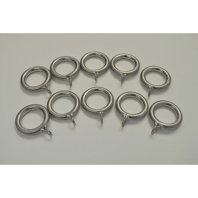 Brushed Nickel Steel 1-in Drapery Rings (Pack of 10)