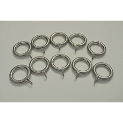 Brushed Nickel Steel 1-in Drapery Rings (Pack of 10)