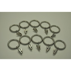 Brushed Nickel Steel 1.25-in Drapery Rings (Pack of 10)