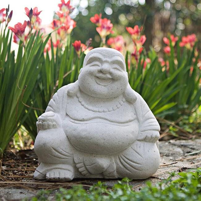 Volcanic Sand Natural White Happy Buddha Statue (Indonesia)