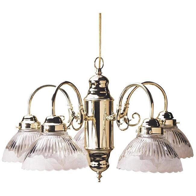 Transitional Five-light Polished Brass Chandelier