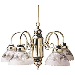 Transitional Five-light Polished Brass Chandelier