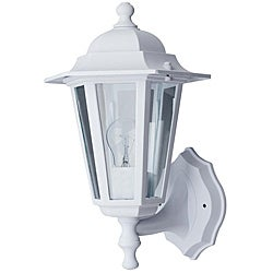 Transitional One-Light White Outdoor Wall Light with Clear Glass Shade