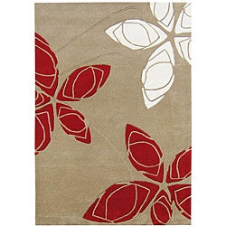 Alliyah Handmade Golder Olive New Zealand Blend Wool Rug