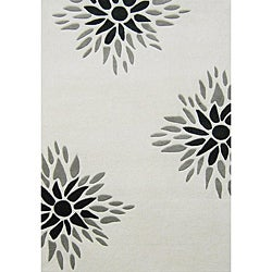Alliyah Handmade Off-White New Zealand Blend Wool Rug
