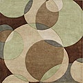Hand-tufted Metro Circles Brown Wool Rug (6' Square)