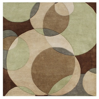 Alliyah Handmade Brown New Zealand Blend Wool Rug (6' Square)