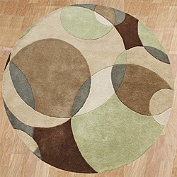 Hand-tufted Metro Circles Brown Wool Rug (6' Round)