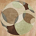 Alliyah Handmade Brown New Zealand Blend Wool Rug (6' Round)