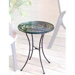 wrought iron glass topped looping side table handmade in philippines 13518904 overstock. Black Bedroom Furniture Sets. Home Design Ideas