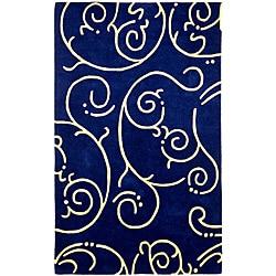 Hand-tufted Archer Blue Wool Rug (4' x 6')