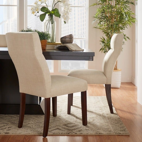 MID-CENTURY LIVING Charles Beige Chenille Upholstered Dining Chair (Set of 2)