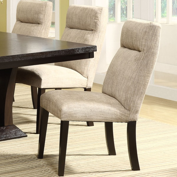 TRIBECCA HOME Charles Beige Chenille Upholstered Dining Chair (Set of 2)