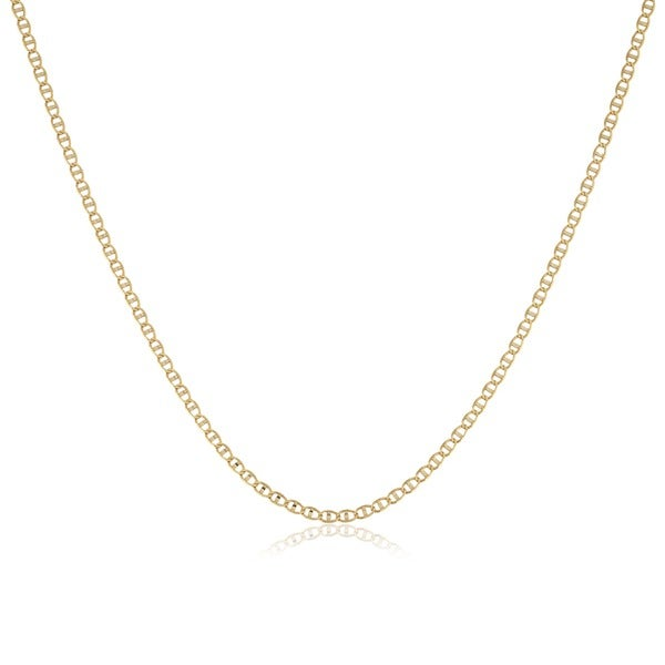 Fremada 10k Yellow Gold 16-inch Pave Flat Mariner Chain Necklace