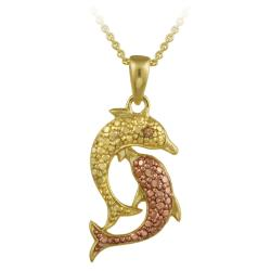 DB Designs 18k and Rose Gold over Silver Champagne Diamond Accent Dolphin Necklace
