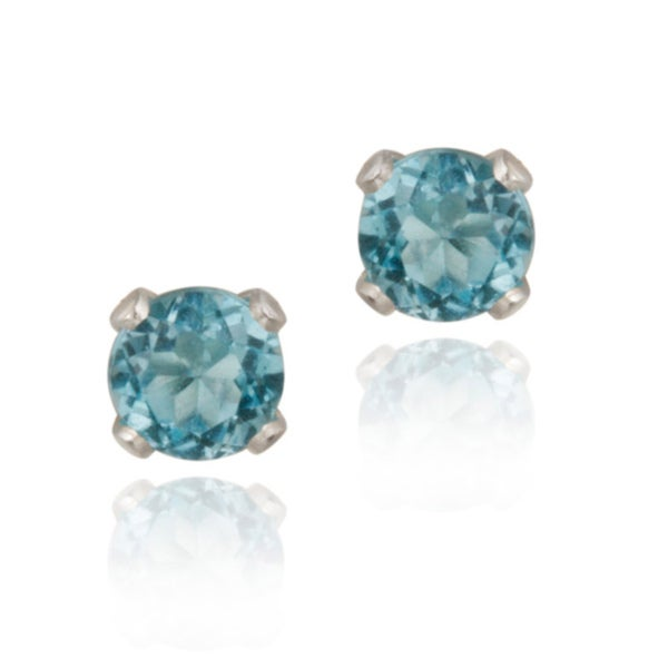 Glitzy Rocks Sterling Silver 1/4ct TGW 3mm Swiss Blue Topaz Stud Earrings