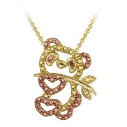 DB Designs 18k and Rose Gold over Silver Champagne Diamond Panda Bear Necklace
