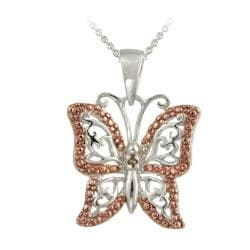DB Designs Rose Gold over Silver Champagne Diamond Accent Butterfly Necklace