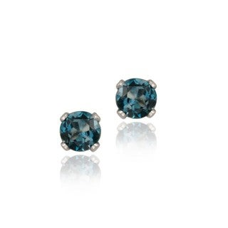 Glitzy Rocks Sterling Silver 1/4ct TGW 3-mm London Blue Topaz Stud Earrings