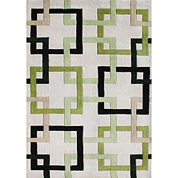 Alliyah Handmade Beige Puzzle New Zealand Blend Wool Rug