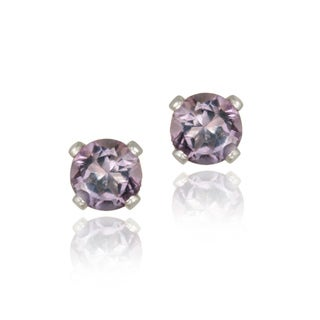 Glitzy Rocks Sterling Silver 1/2ct TGW 4mm Amethyst Stud Earrings