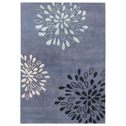 Alliyah Handmade Moon Light Blue New Zealand Blend Wool Rug