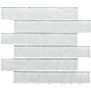 Somertile Reflections Ripple Super White Glass Mosaic Tiles (Pack of 10)