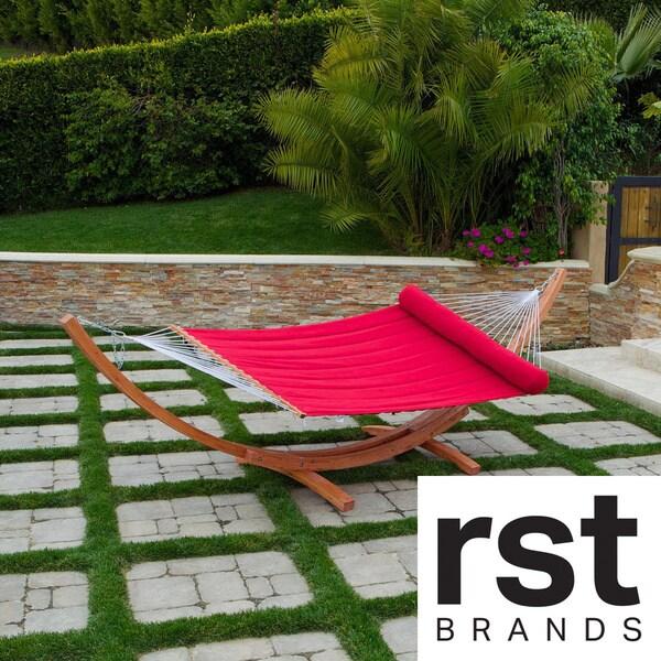 RST Cantina Wood Arc Sunbrella Cypress/ Jockey Red Hammock Set