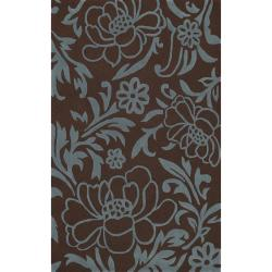 nuLOOM Handmade Pluto Collection Eden Garden Brown Wool Rug (8' x 11')