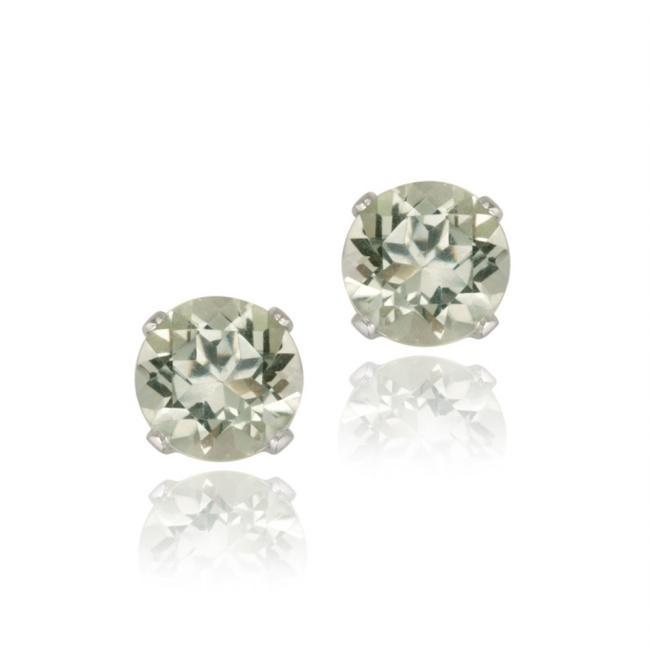 Glitzy Rocks Sterling Silver 1 1/2ct TGW 6mm Green Amethyst Stud Earrings