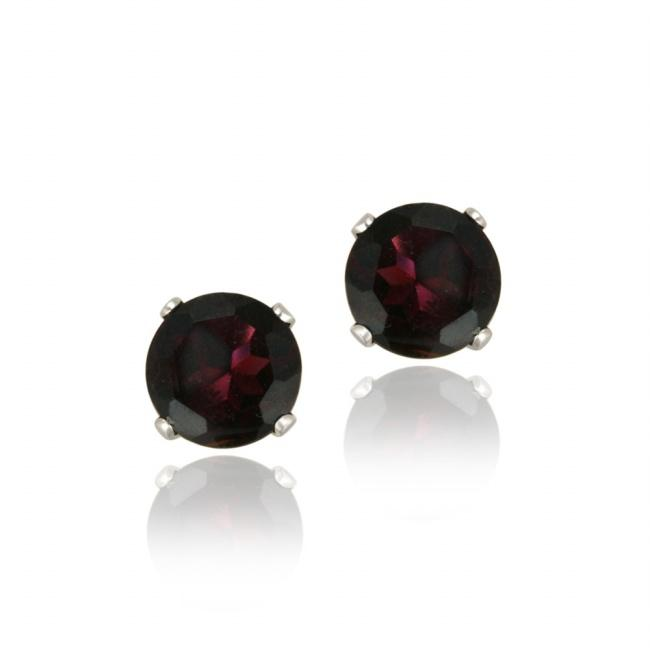 Glitzy Rocks Sterling Silver 2 2/5ct TGW 6mm Garnet Stud Earrings