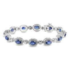 Miadora 14k White Gold Sapphire and 1/2ct TDW Diamond Bracelet (G-H, I1-I2)