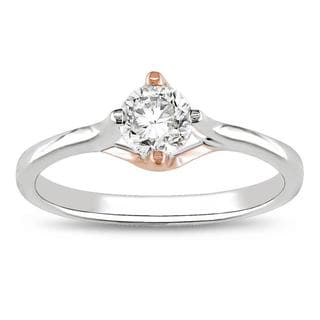 Miadora 10k White and Rose Gold 1/2ct TDW Diamond Engagement Ring (G-H, I2-I3)