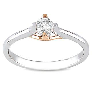10k White and Rose Gold 1/4ct TDW Diamond Solitaire Ring (G-H, I2-I3)